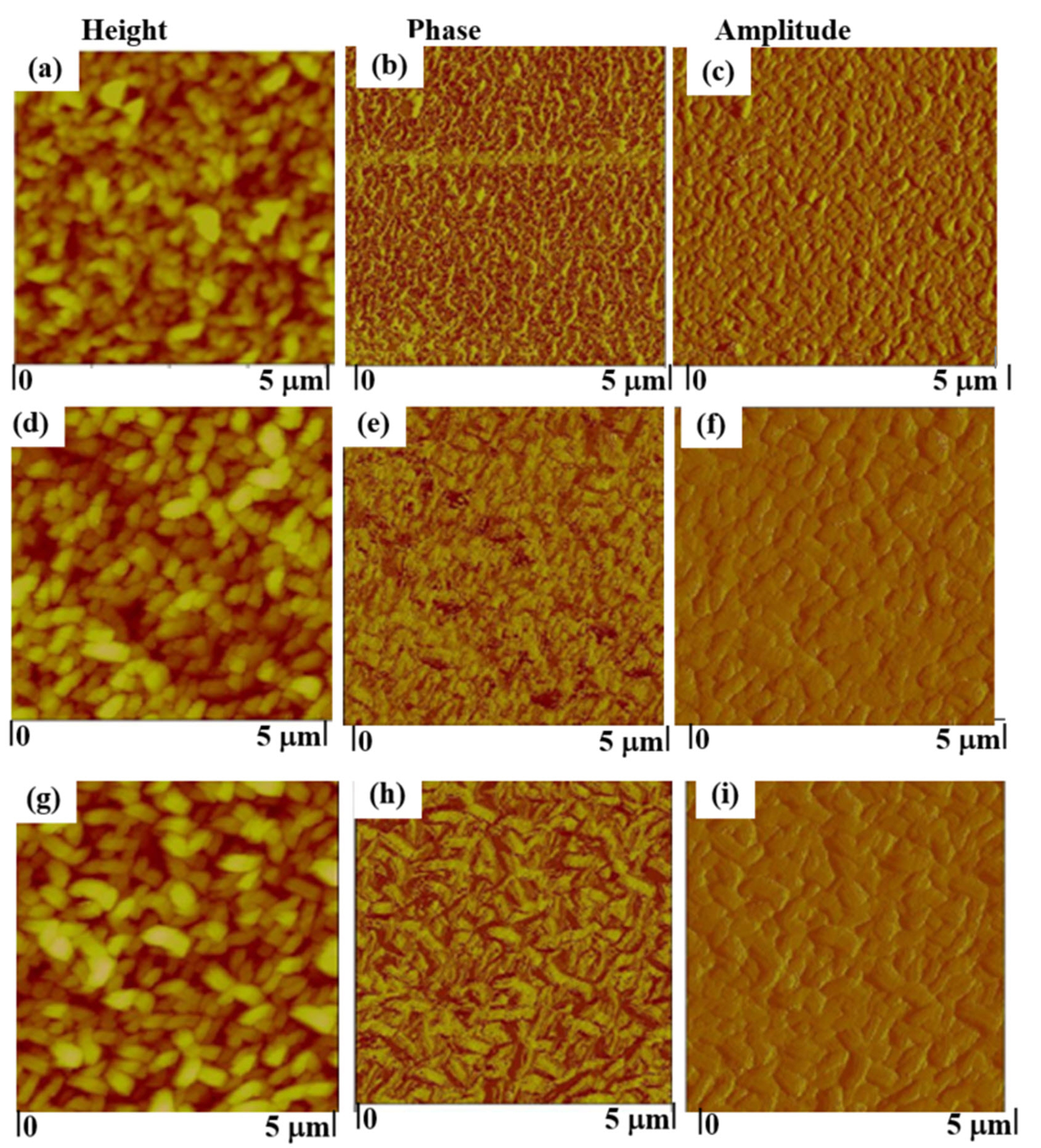 Figure 8. Atomic Force Microscopy images of pristine (a-c) and hydrogenated FLGs [(d-f) @ 50oC and (g-i) @200oC].