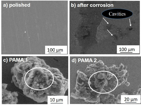 Figure 7. SEM micrograph of a) polished steel rebar b) steel rebar after corrosion in blank c) steel rebar after corrosion in presence of PAMA1 d) steel rebar after corrosion in presence of PAMA2.