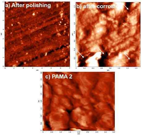 Figure 8. AFM topography of a) polished steel rebar b) steel rebar after corrosion in blank c) steel rebar after corrosion in presence of PAMA2.